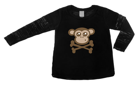 Monkey Crossbones Long Sleeve Layered Burnout Tee