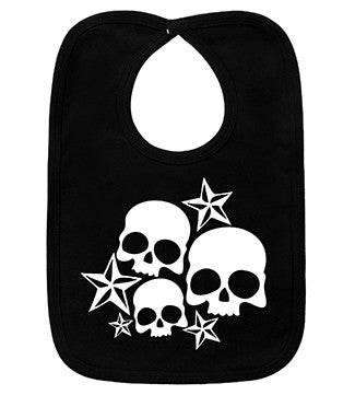 Nautical Stars & Skulls Black & White Bib