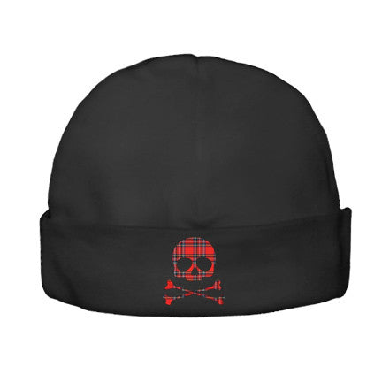 Plaid Skull Black Beanie