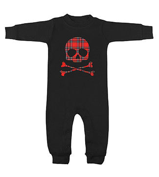 Plaid Skull Black Long Sleeve Romper