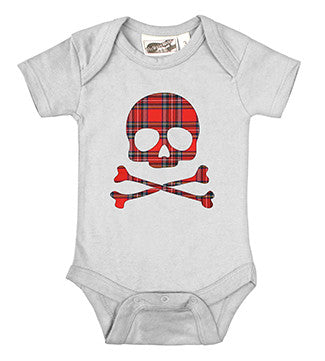 Plaid Skull White One Piece