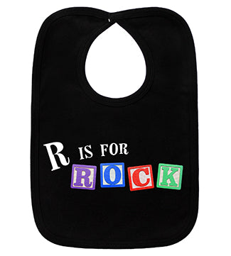 R Is For Rock Black Bib