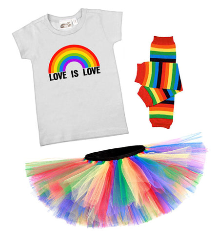 Love Is Love Rainbow T-shirt, Tutu, & Leg Warmers Gift Set