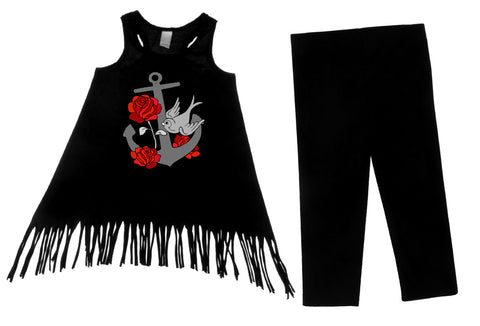 Retro Anchor Black 2 Piece Fringe Dress & Leggings Gift Set