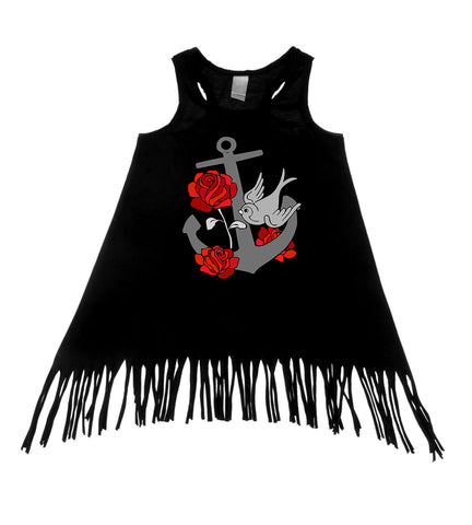 Retro Anchor, Roses, & Sparrows Black Tank Top Fringe Dress