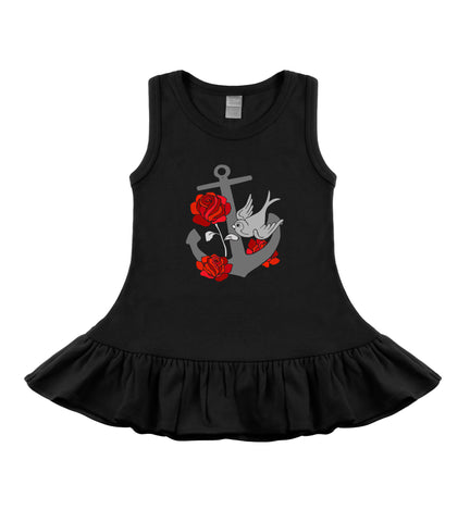Tattoo anchor rockabilly dress baby girl