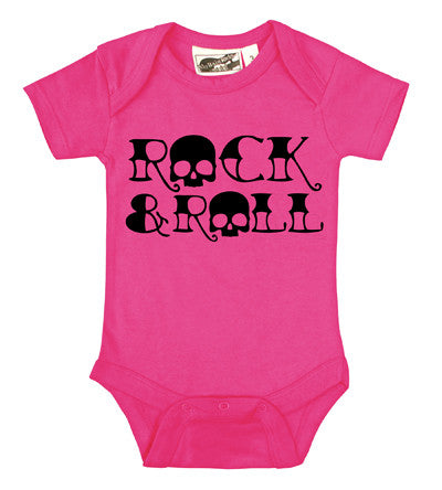 Rock & Roll Skull Hot Pink & Black One Piece