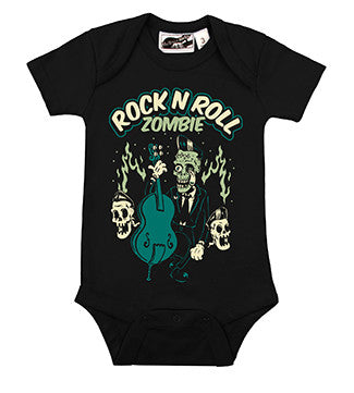 Rock N Roll Zombie Cemetery Rocker Black One Piece