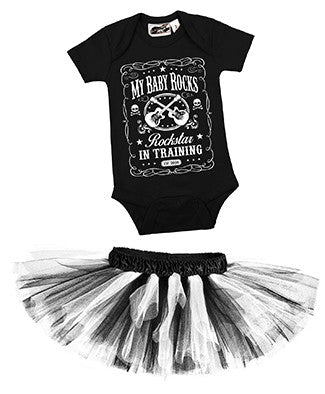 Rockstar In Training Black One Piece & Black/White Classic Tutu