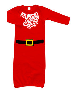 Santa Suit & Beard LS Layette Gown