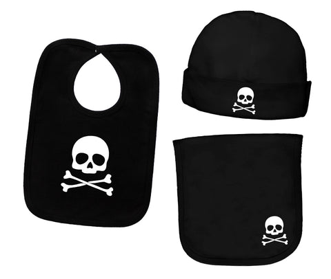 Skull & Crossbones 3 Piece Bib, Burp Cloth, & Beanie Accessory Gift Set