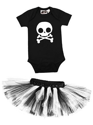 Skull Black & White One Piece & Black/White Classic Tutu Set