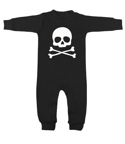 Skull & Crossbones Black & White Long Sleeve Romper