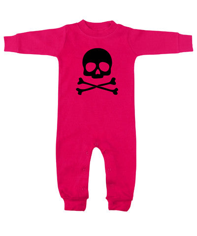 Skull & Crossbones Hot Pink & Black Long Sleeve Romper