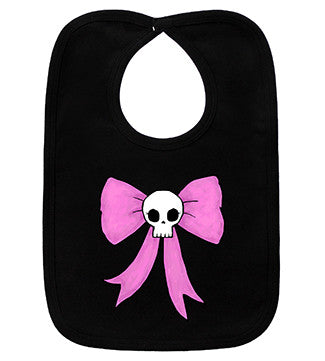 Bow Skull Black Bib