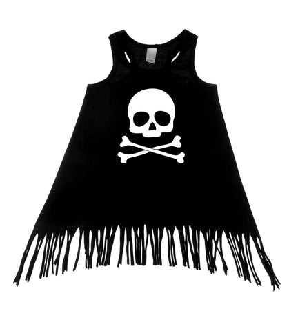 Skull & Crossbones Black Tank Top Fringe Dress