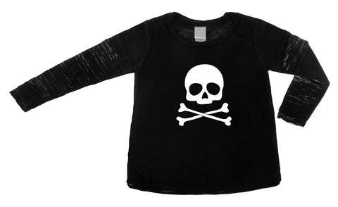 Skull & Crossbones Black Long Sleeve Layered Burnout Tee