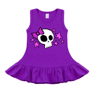 Skull & Stars Purple, Pink & White Sleeveless Dress