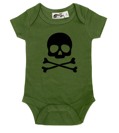 Skull Amp Crossbones Olive Amp Black One Piece My Baby Rocks
