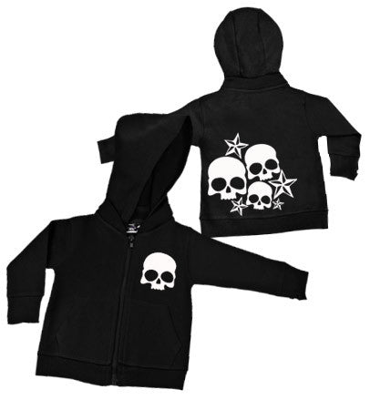 Nautical Stars & Skulls Black Hoodie w/ Removable Hood
