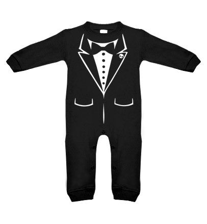 Tux Skull Black Long Sleeve Romper