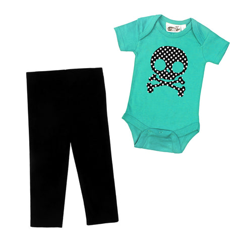 Star Skull Aqua One Piece & Black Leggings Gift Set