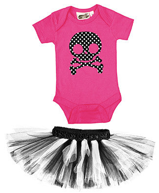 Star Skull Hot Pink One Piece & Black/White Classic Tutu
