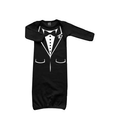 Tux Skull Long Sleeve Layette Gown