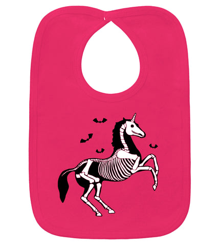 Gothic Unicorn Skeleton Hot Pink Bib