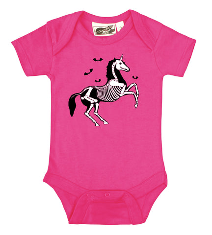 Gothic Unicorn Skeleton Hot Pink One Piece