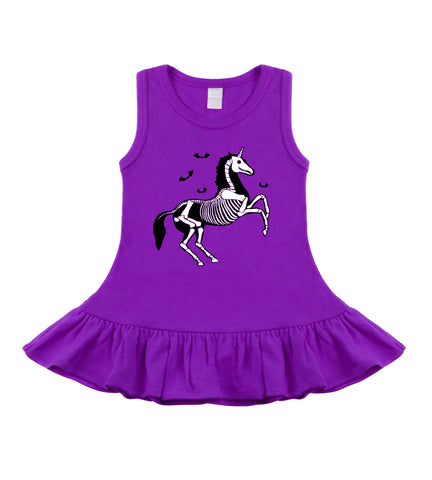 Unicorn Skeleton Purple Sleeveless Baby Toddler Dress