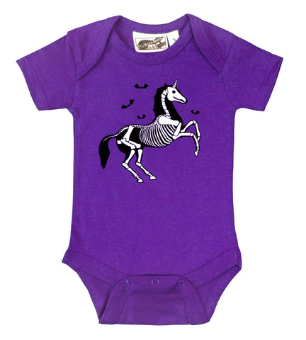 Gothic Unicorn Skeleton Purple One Piece