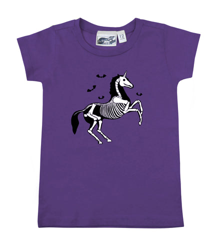 Unicorn Skeleton Purple Baby Toddler T-shirt