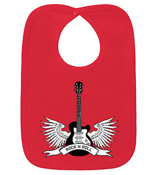 Winged Guitar Rock N Roll Red Bib