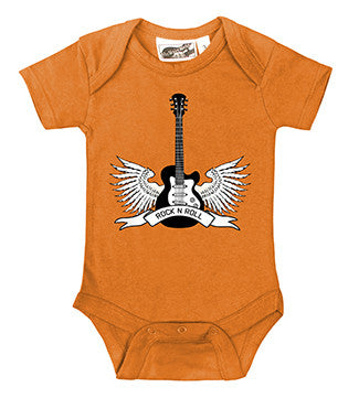 Winged Guitar Rock N Roll Orange One Piece