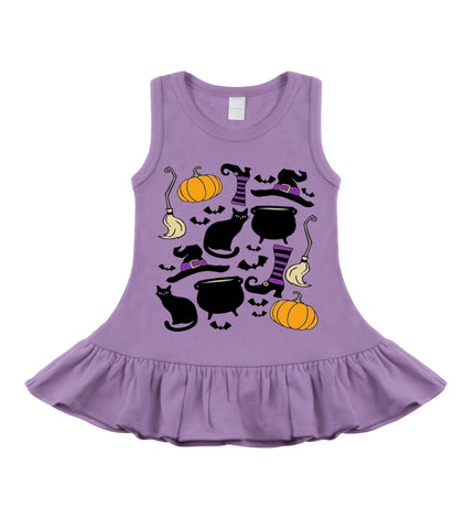 Witchy Things Lavender Halloween Sleeveless Dress