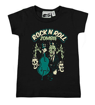 Rock N Roll Zombie Cemetery Rocker Black T-shirt