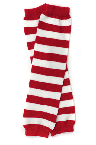 Red & White Stripe Leg Warmers