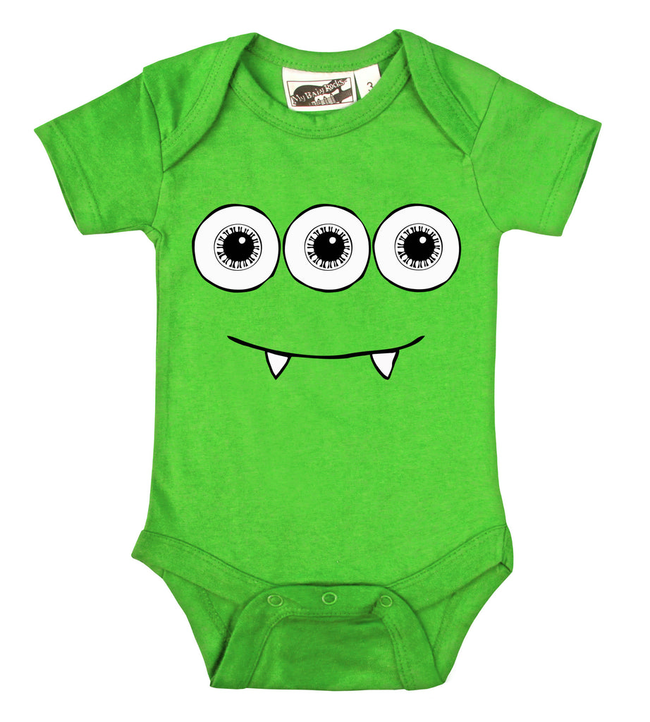3 Eyed Monster Lime Green One Piece My Baby Rocks