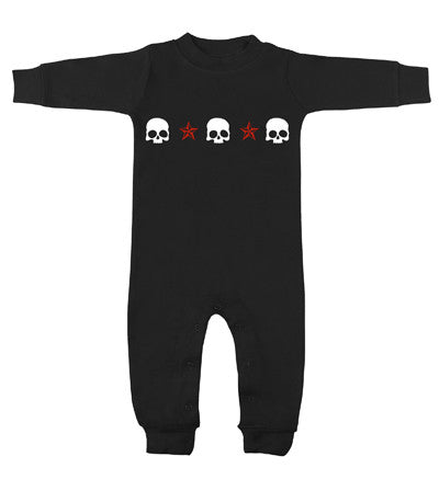 3 Skulls Long Sleeve Black Romper