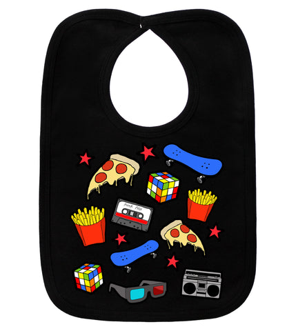 Awesomely 80's Black Bib