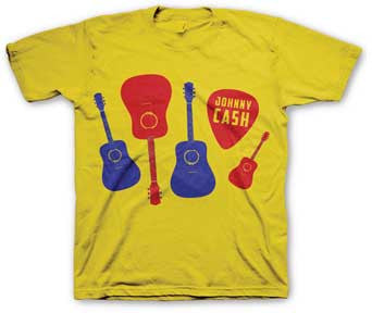 Johnny Cash Guitars & Picks Yellow T-shirt