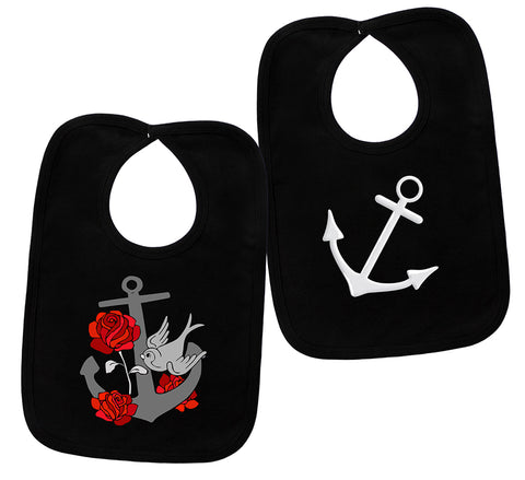 Anchors 2 Black Bib Set