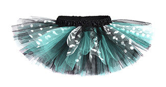 Aqua & Black Polka Dot Deluxe Tutu with Satin Waistband