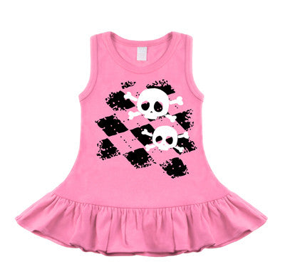 Argyle Skull Bubblegum Pink Sleeveless Dress