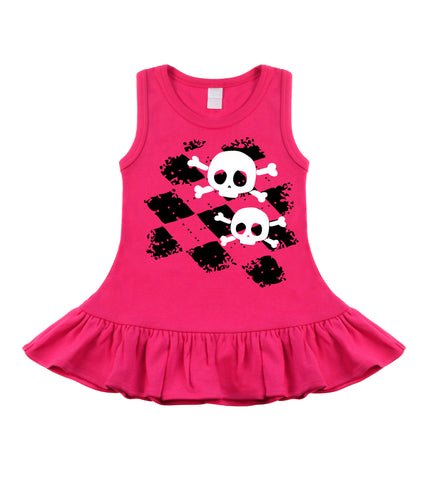 Argyle Skull Hot Pink Sleeveless Dress