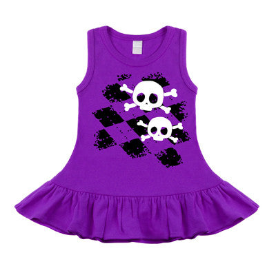 Argyle Skull Purple Sleeveless Dress