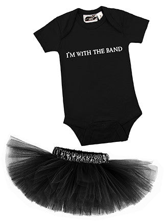 I'm With The Band Black One Piece & Black Classic Tutu Set