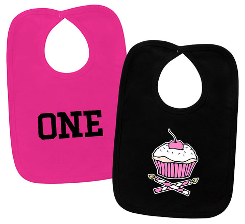 1st Birthday Cupcake 2 Piece Bib Gift Set
