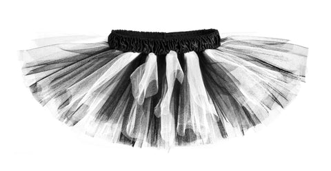 Black & White Classic Tutu with Black Satin Waistband